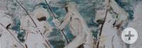 Ein Ölgemälde zeigt vier in weißen Schutzanzügen arbeitende Menschen