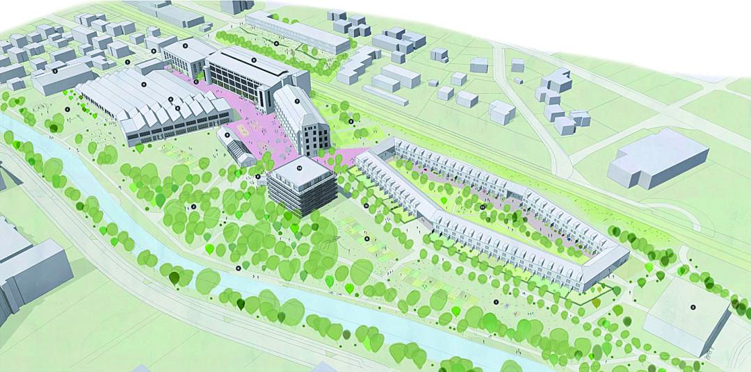 Planzeichnung des Siegerentwurfs für das Qurtier Mühlkanal